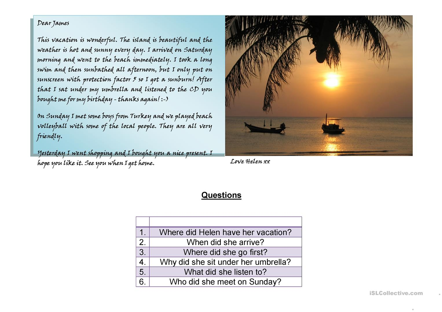 Postcard Reading Worksheet