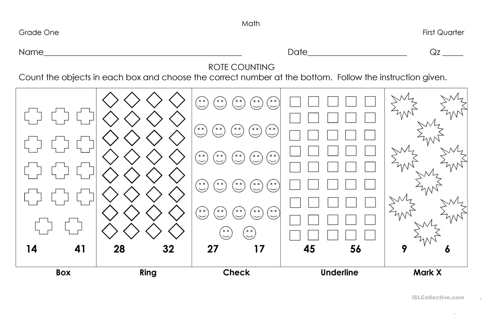 Rote Counting Worksheet
