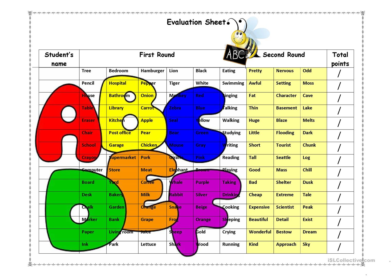 Spelling Evaluation Sheet