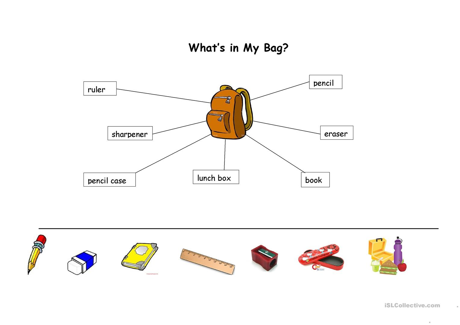 Things In School Bag Worksheet