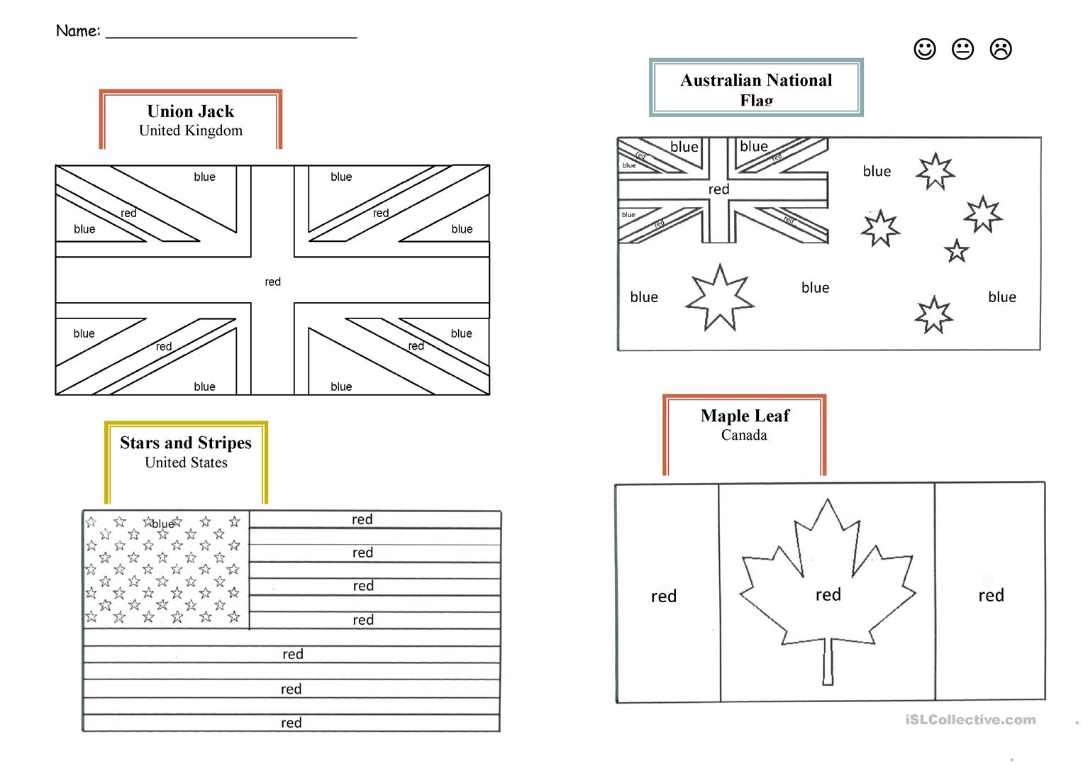English Speaking Countries Flags Worksheet