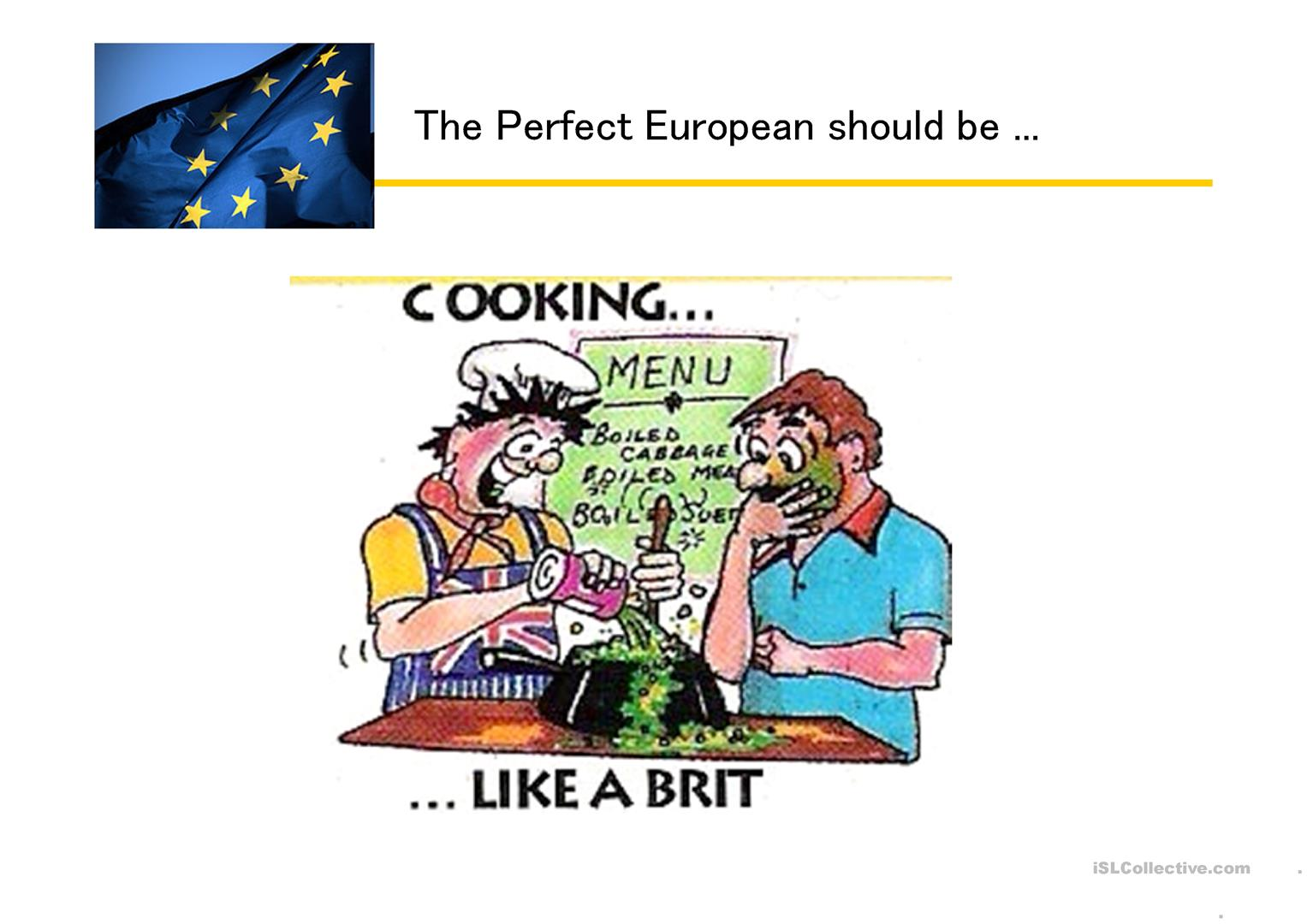 European National Stereotypes With Cartoons Worksheet