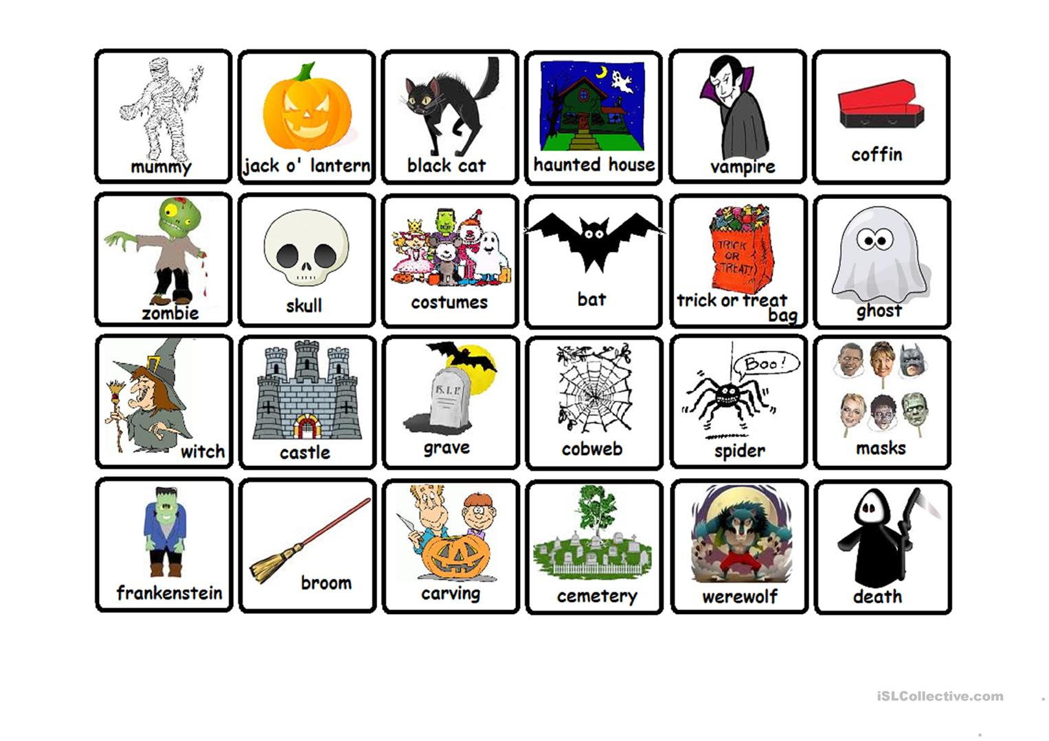 Halloween Memory Game Worksheet