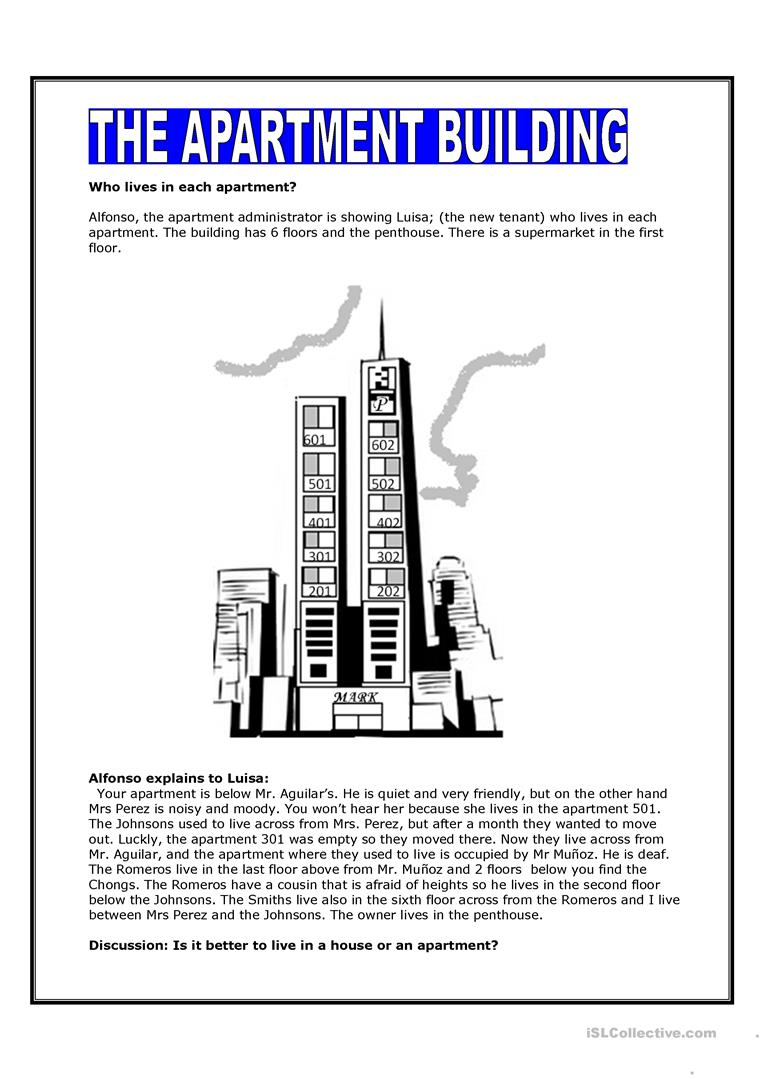 The Apartment Building Worksheet