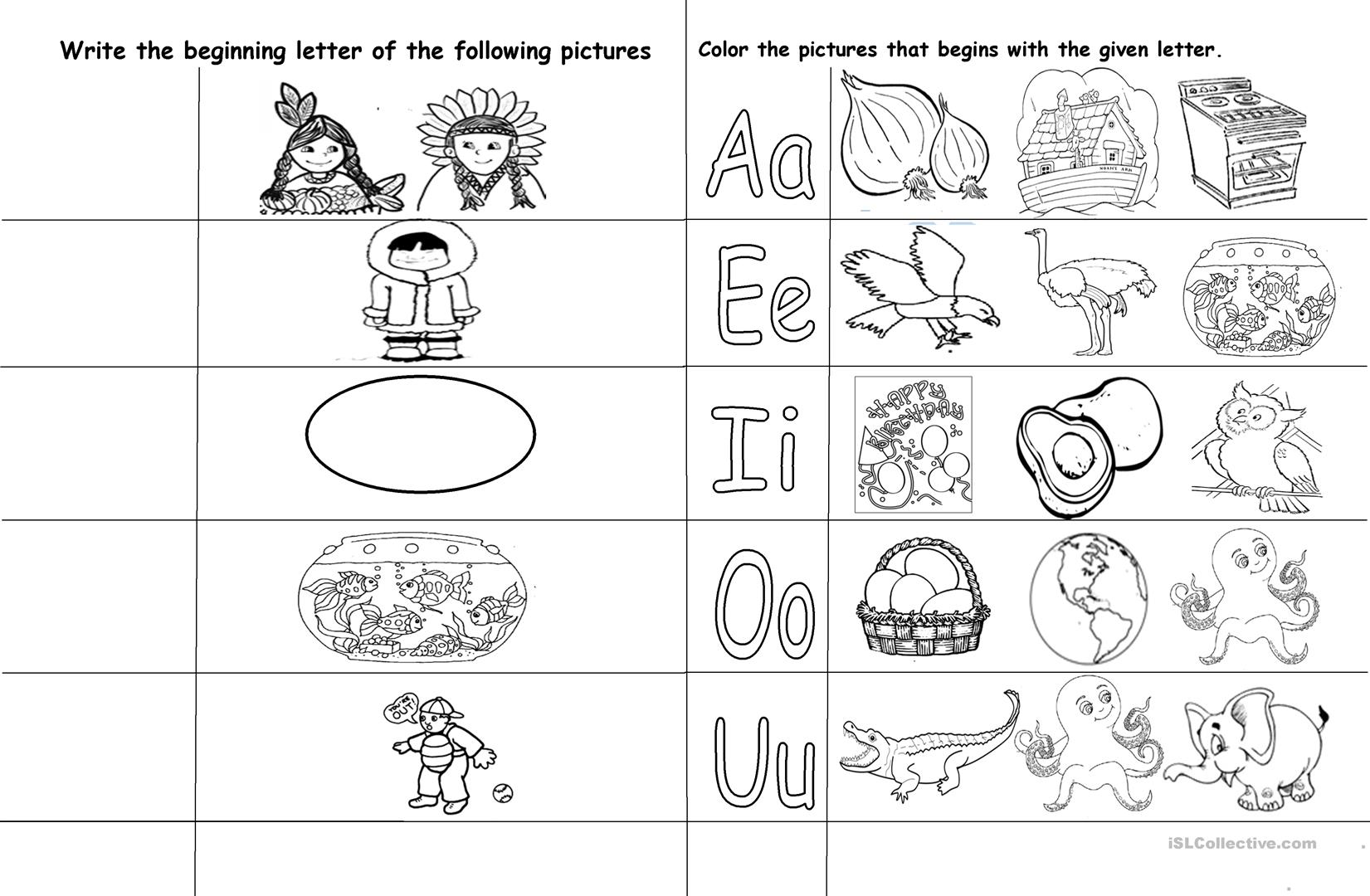 Vowel Letters Worksheet