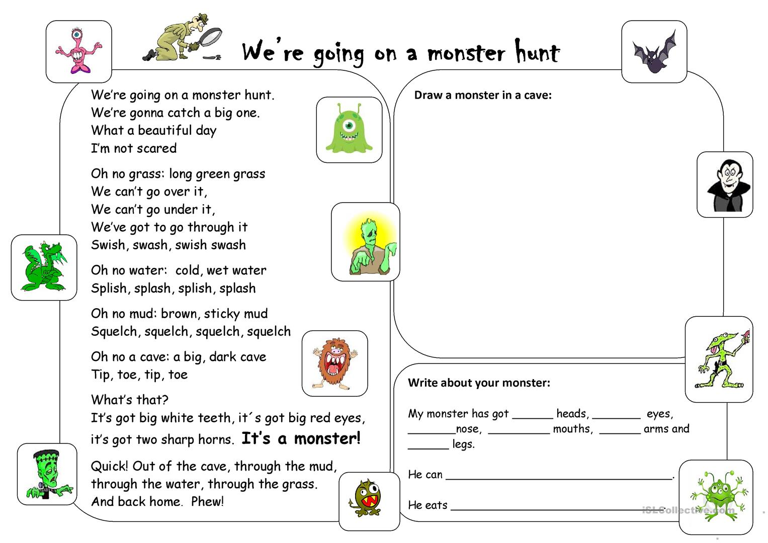 We Re Going On A Monster Hunt Worksheet