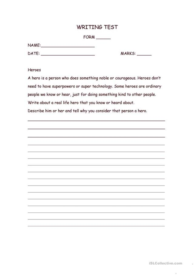 Writing Assignment: Heroes - English ESL Worksheets for distance