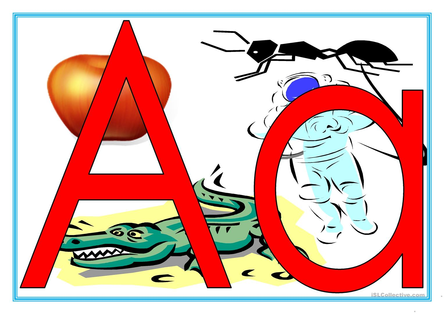 Alphabet With Phonics Pictures Worksheet