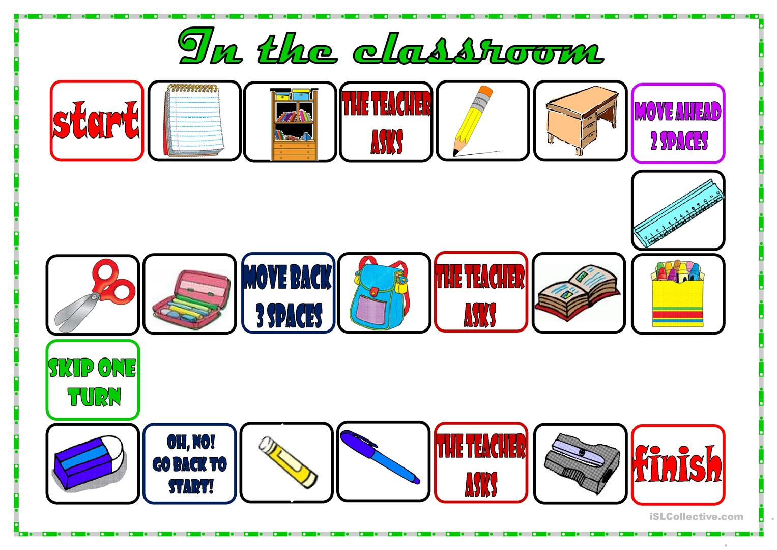 Classroom Board Game Worksheet