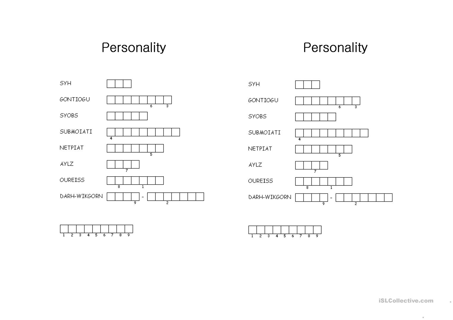 Personality Puzzle Worksheet