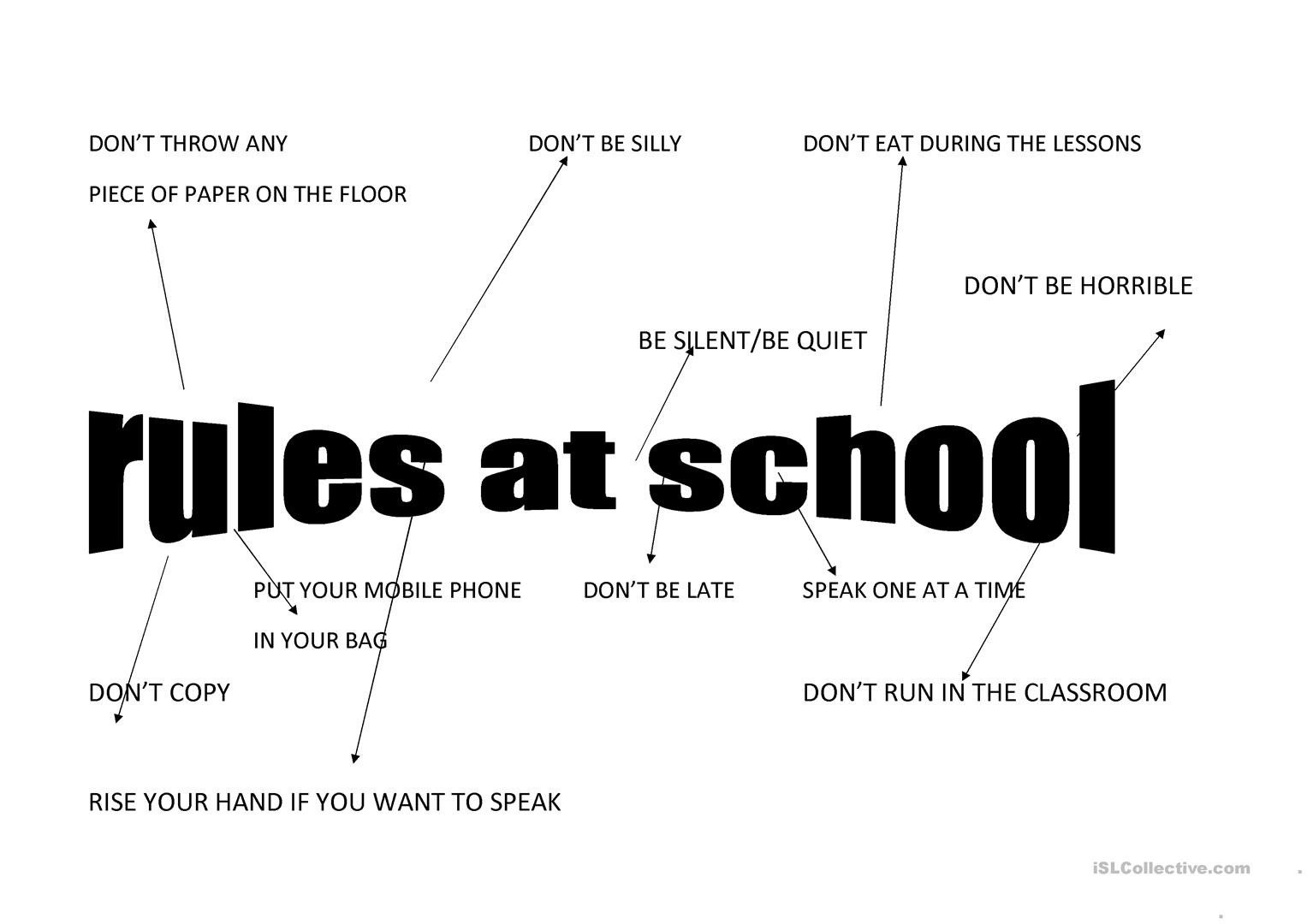 Rules At School Worksheet