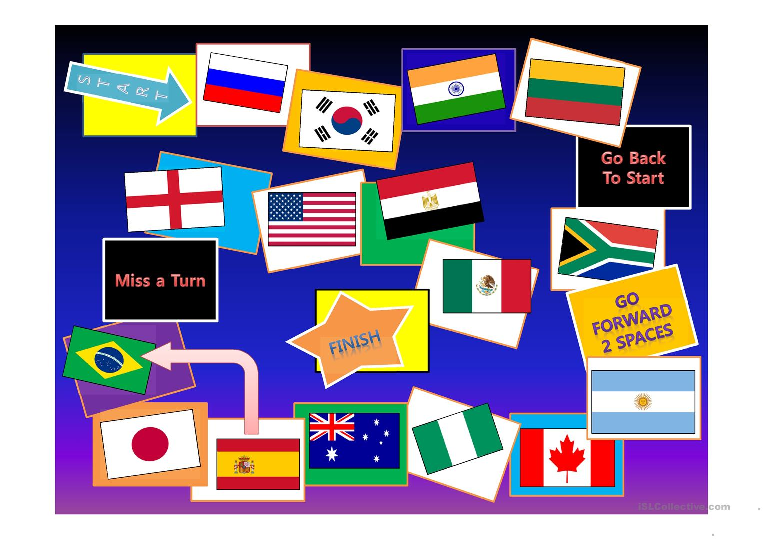 Countries Flags Game Board