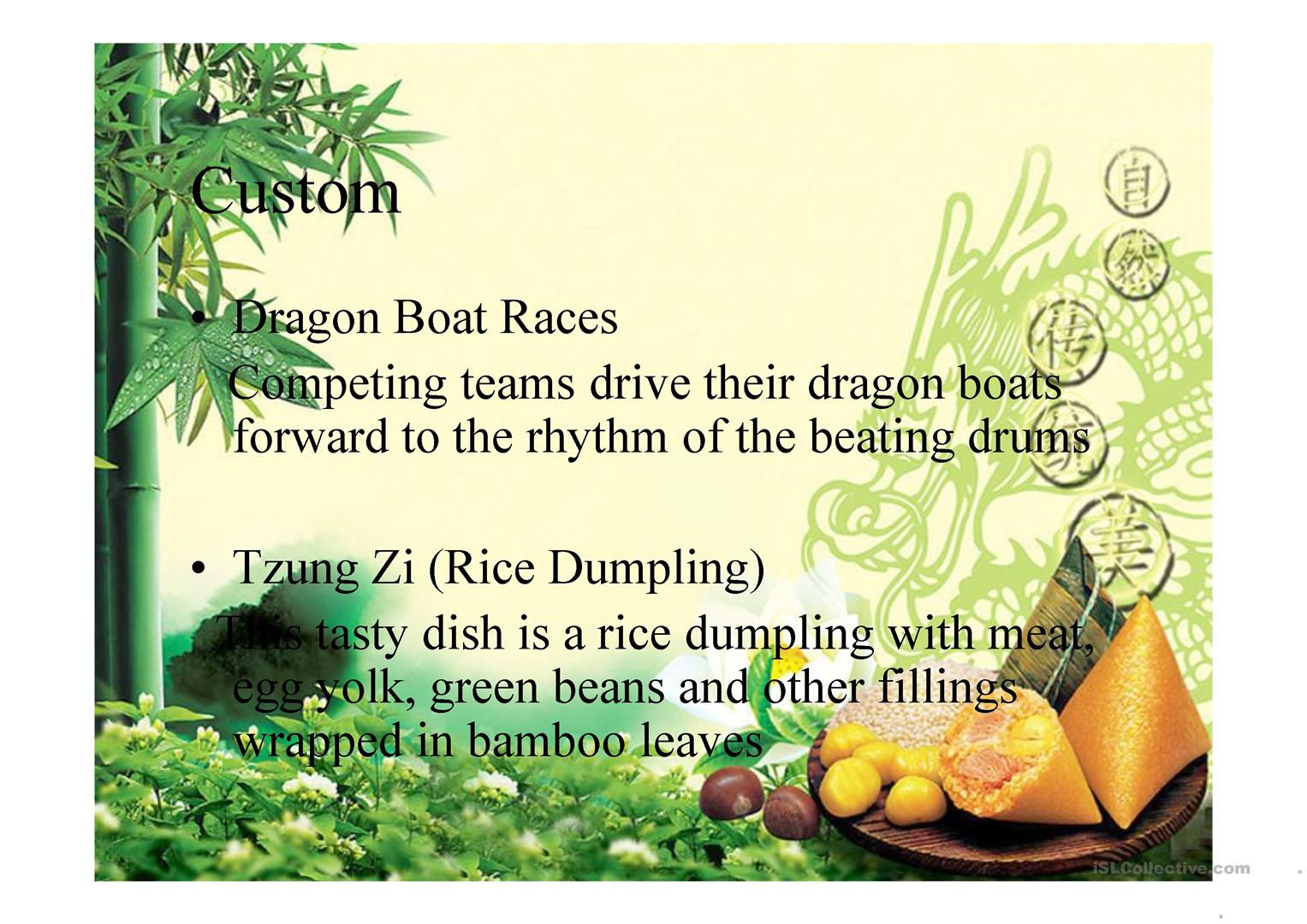 Dragon Boat Festival Worksheet