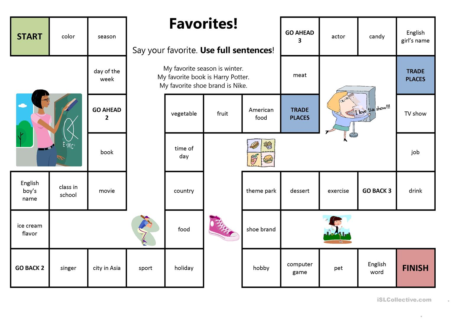 Favorites Board Game Worksheet