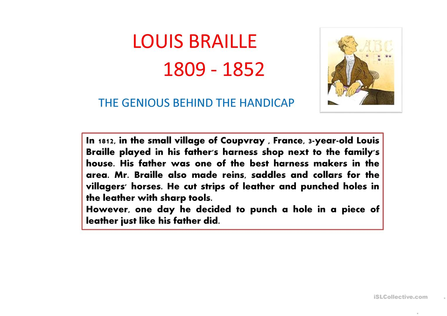 Louis Braille Ppt Worksheet