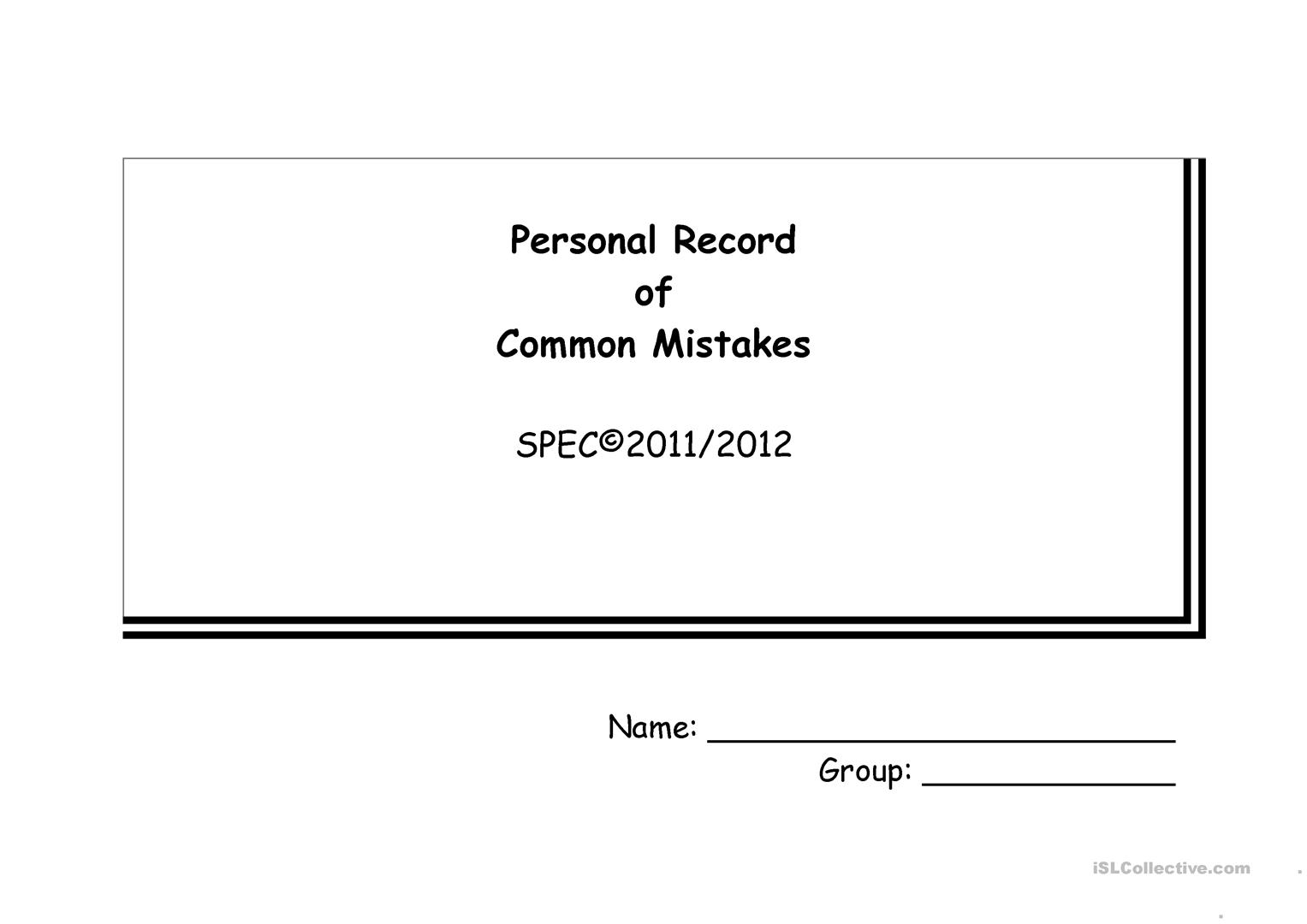 Personal Record Of Common Mistakes
