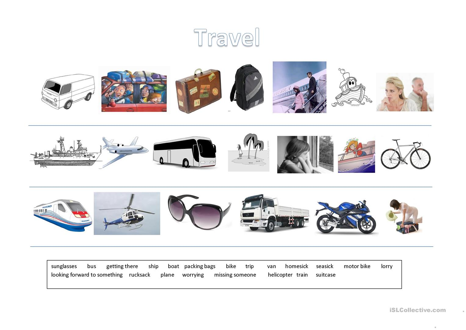 Travel Vocabulary Worksheet