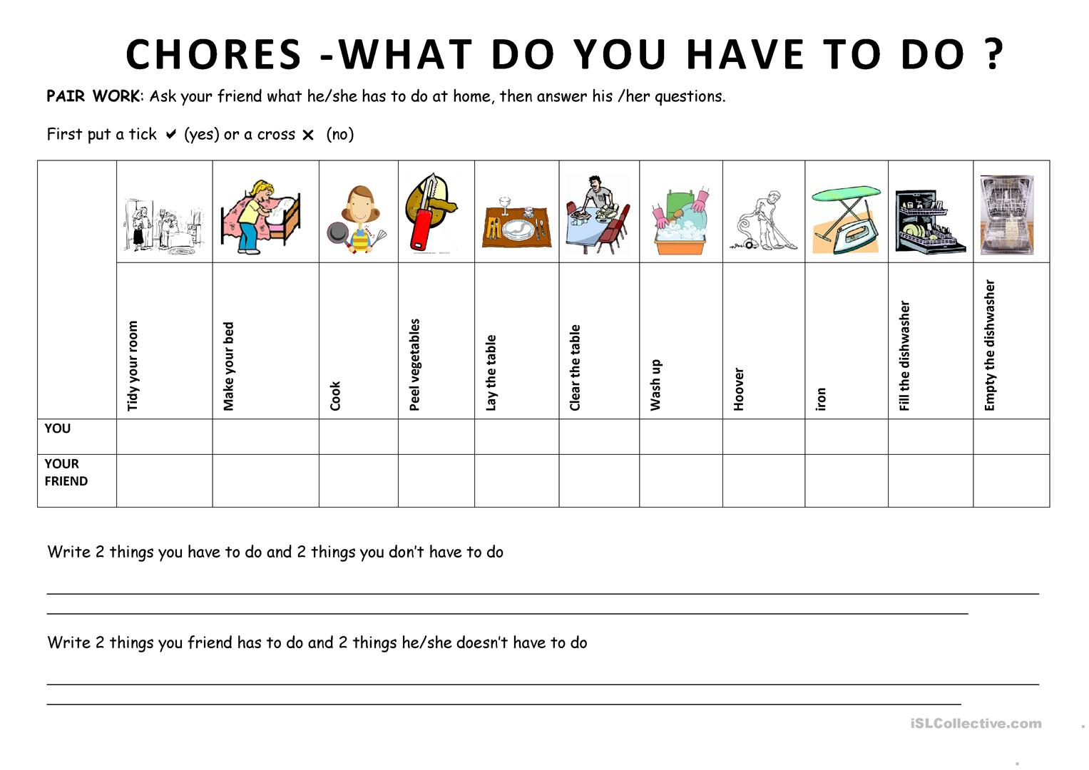 Chores 6 What Do You Have To Do Worksheet