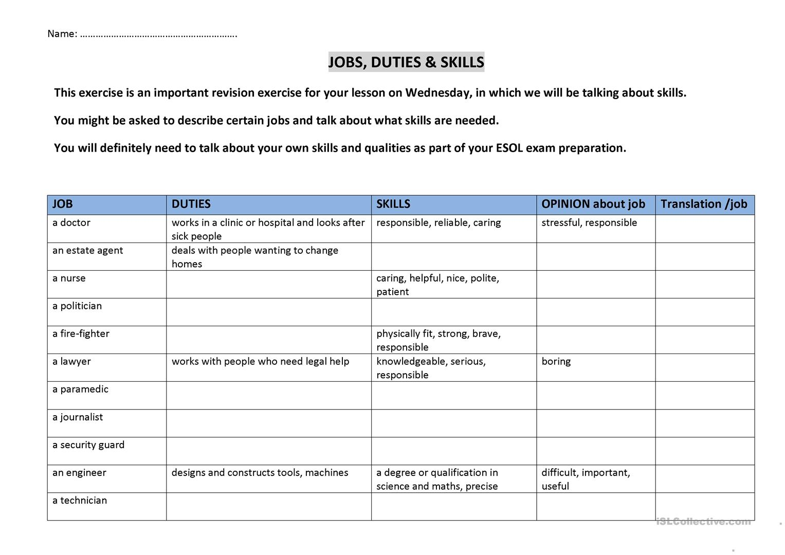 Employment Skills Worksheets