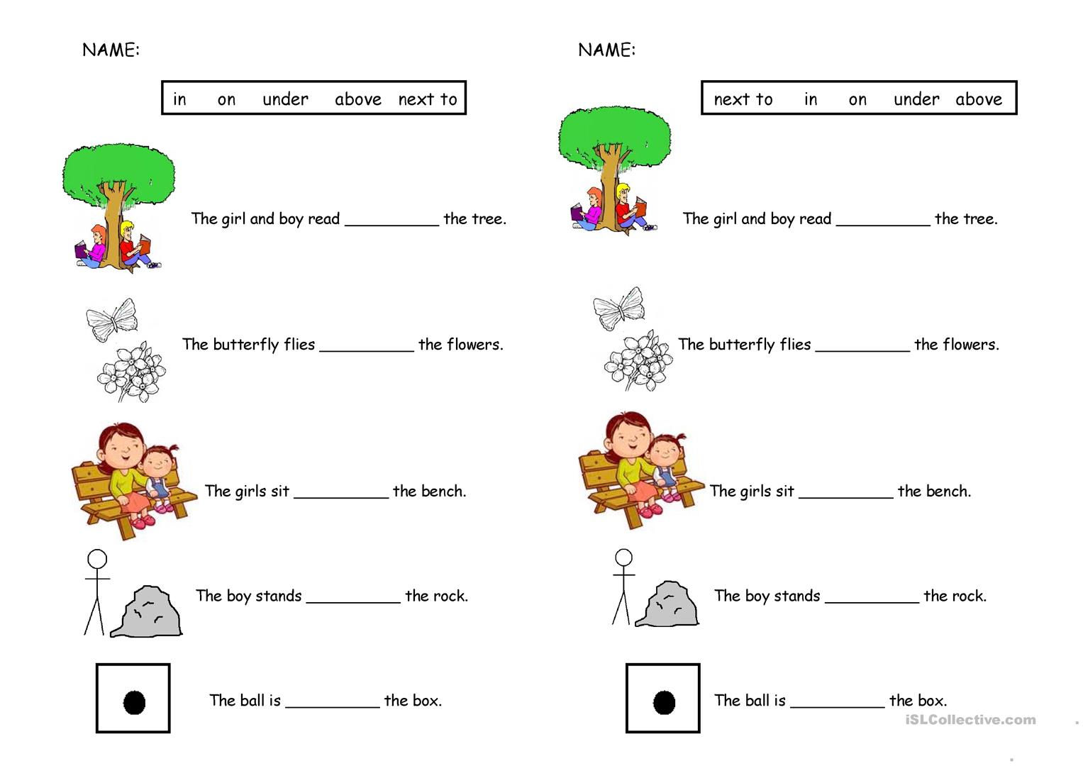 Preposition Over Worksheet