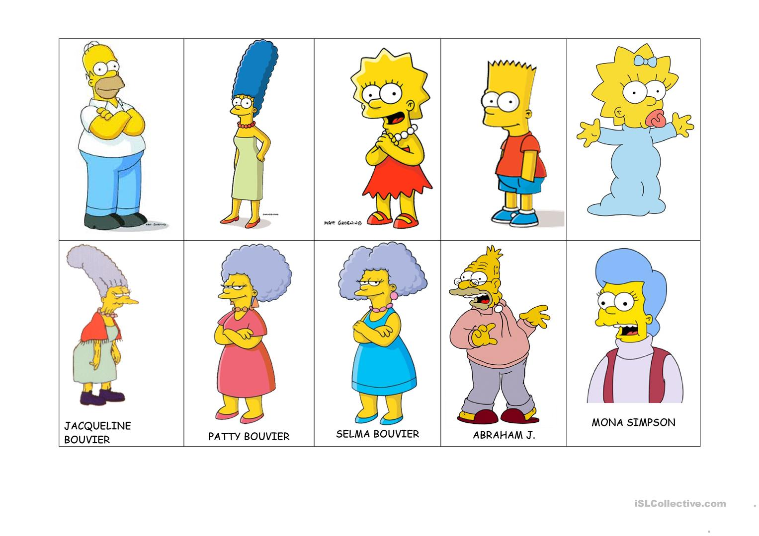 Simpson Family Worksheet