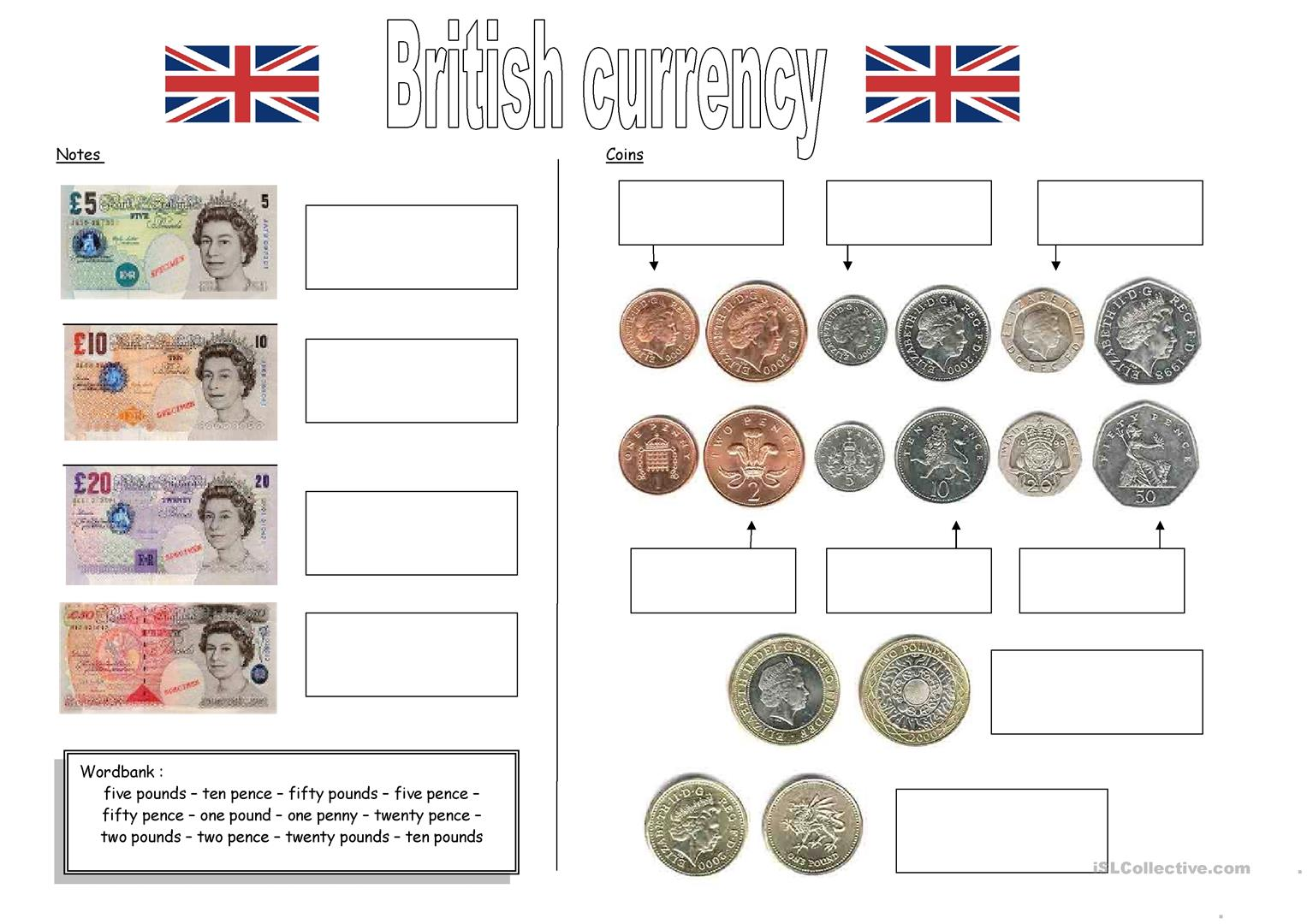 British Currency Worksheet