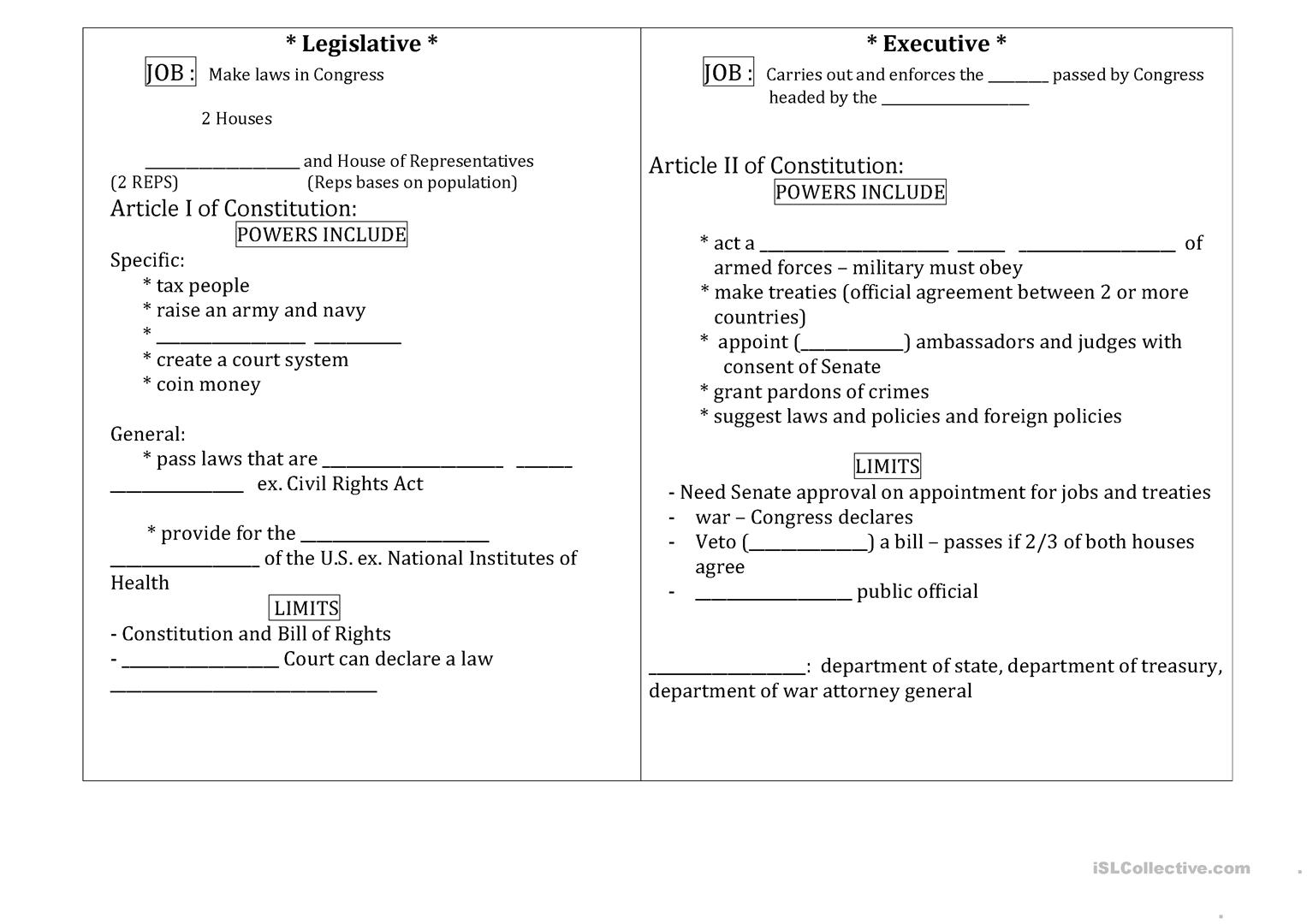 Constitution Pamphlet Worksheet