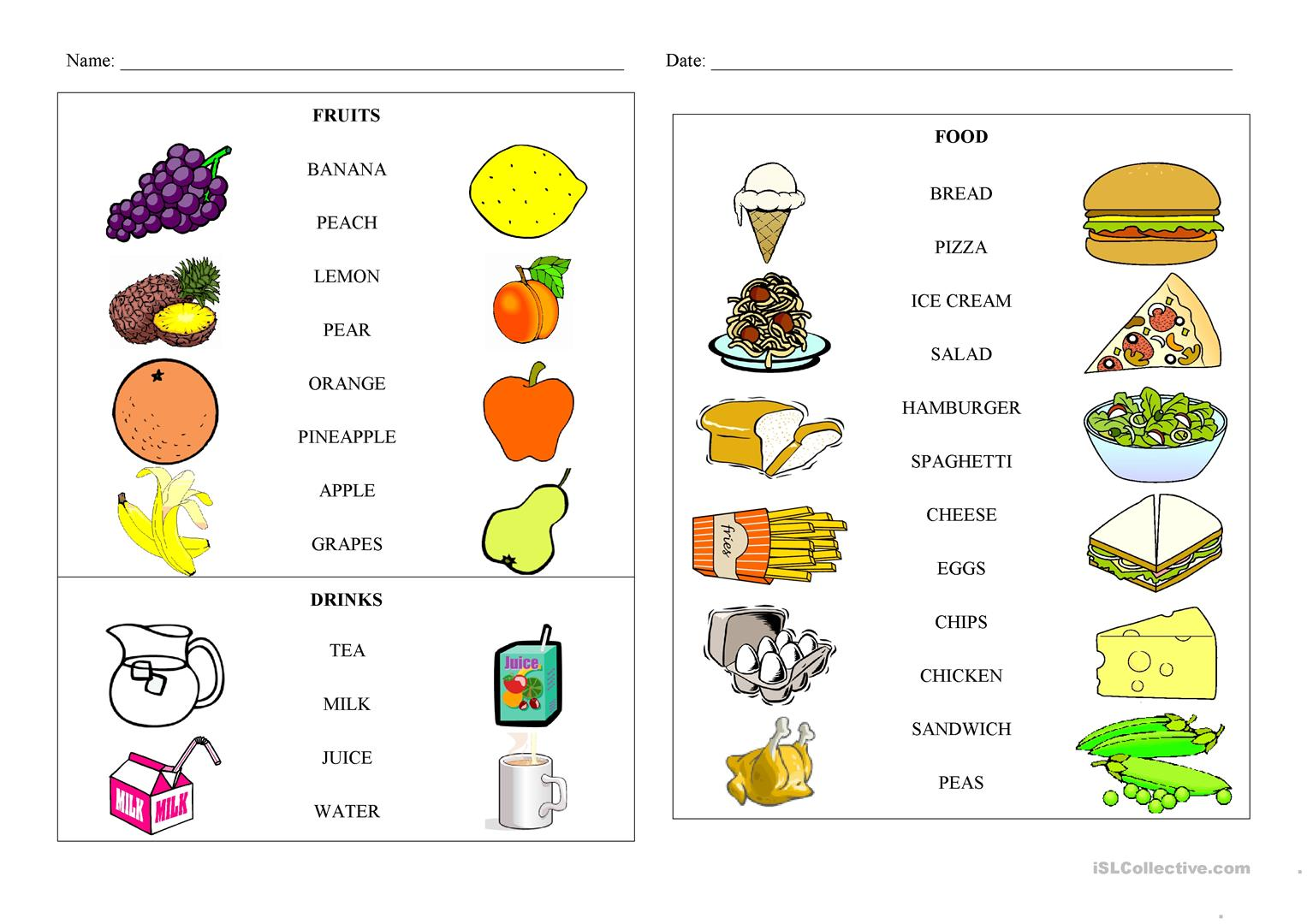 Esl Food Game Worksheet