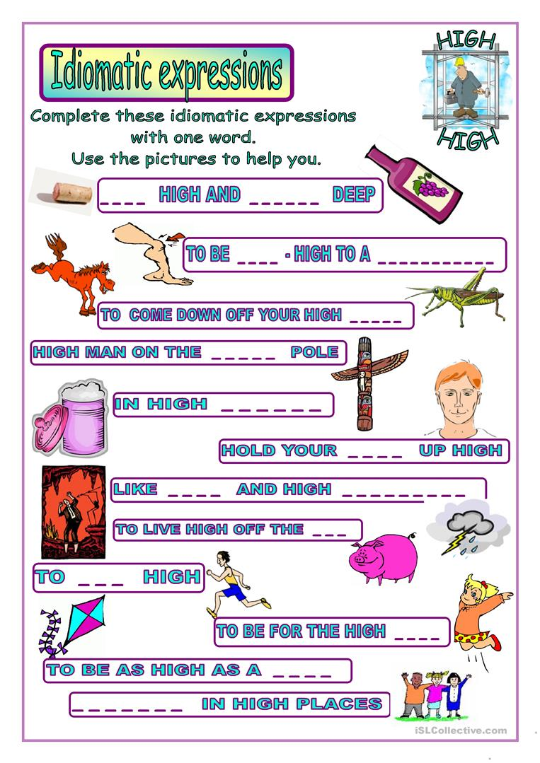 Idiomatic Expressions Worksheet
