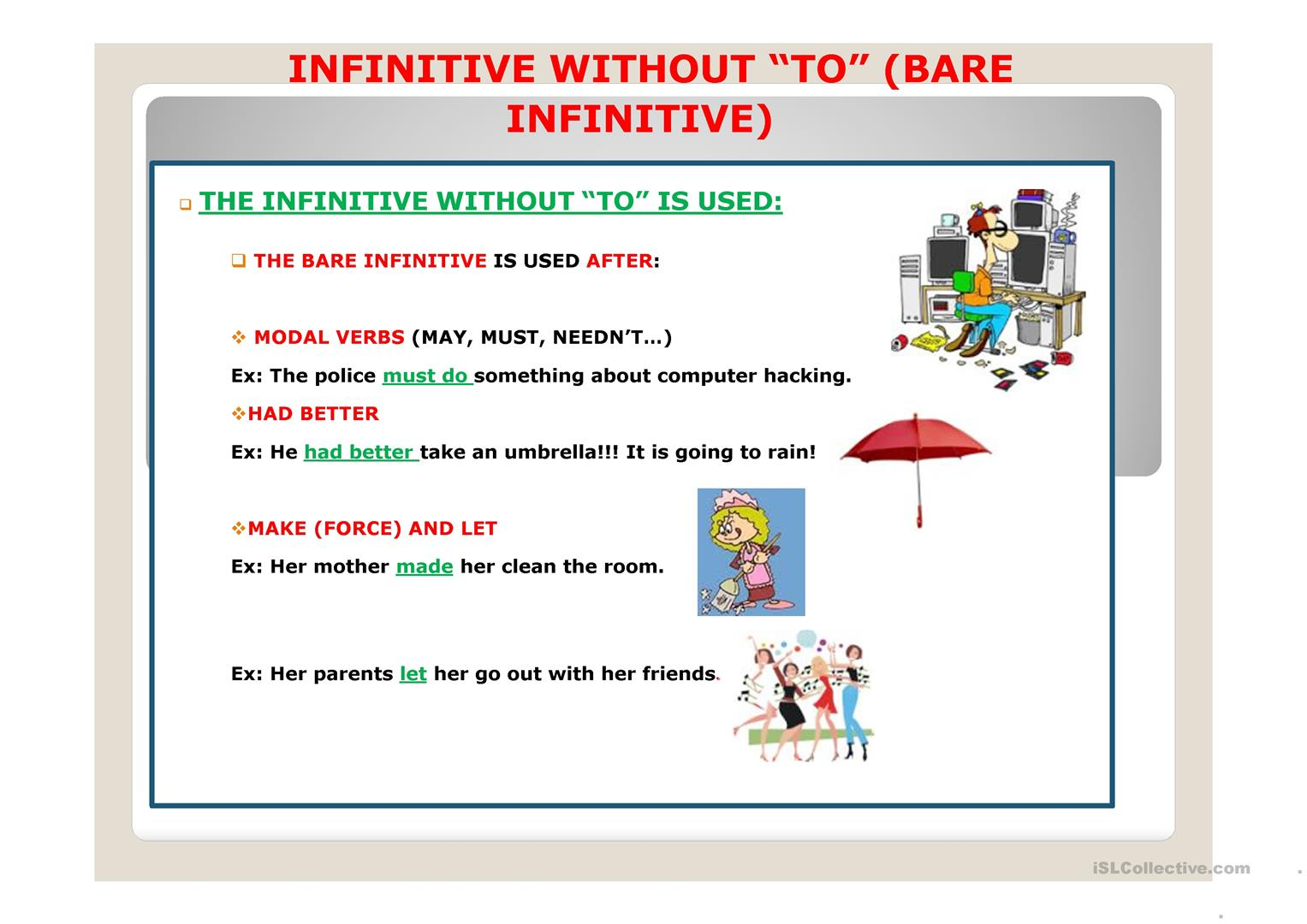 Infinitive Without To Ppt Worksheet