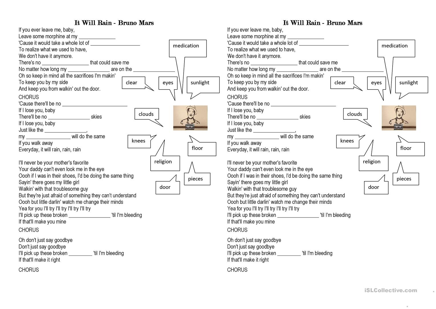 It Will Rain By Bruno Mars Worksheet
