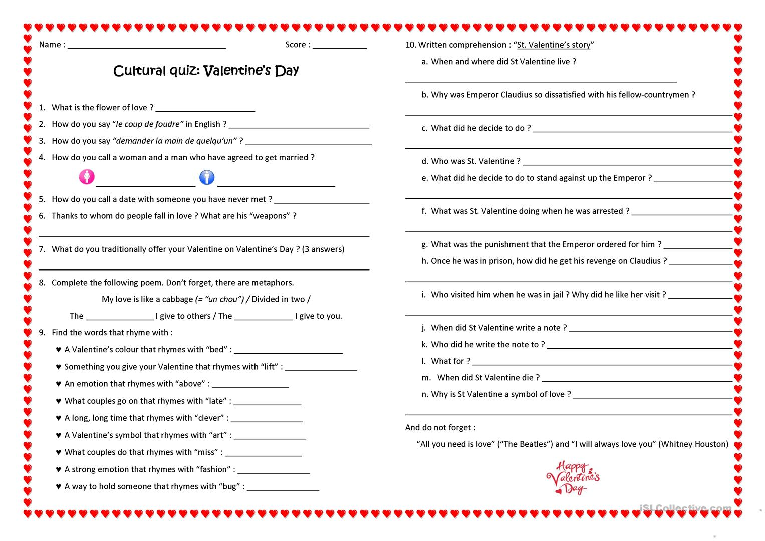 Valentine S Quiz Worksheet