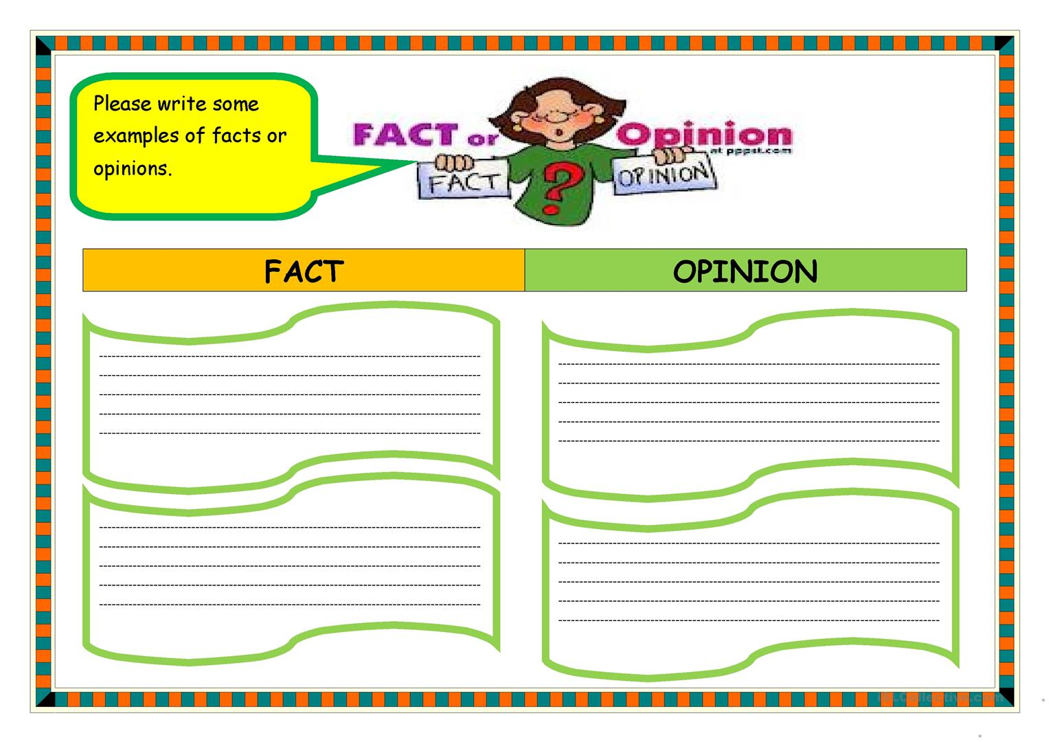 Fact Or Opinion Organizer Worksheet