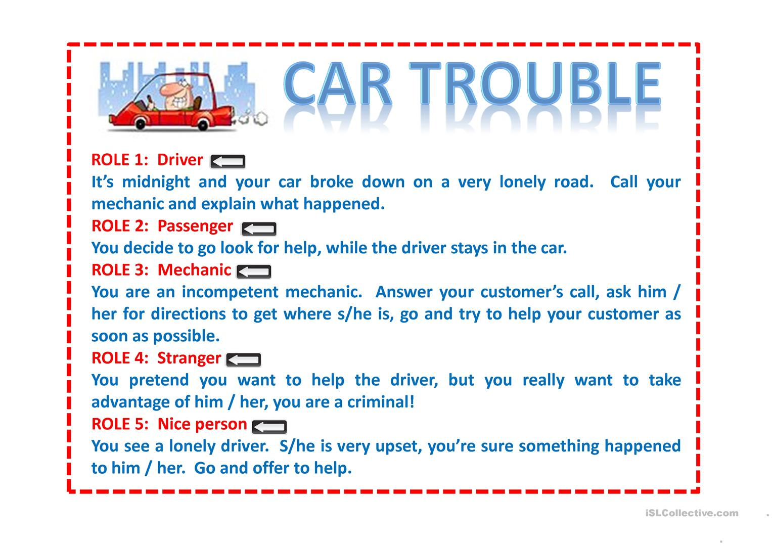 Role Play Car Trouble Worksheet