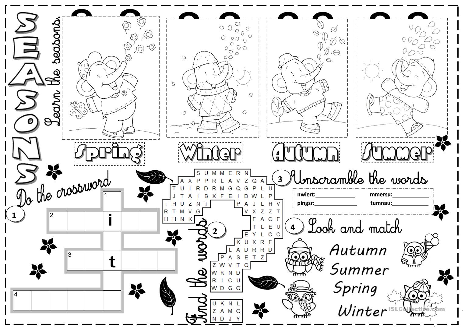 Worksheet Clothes And Seasons