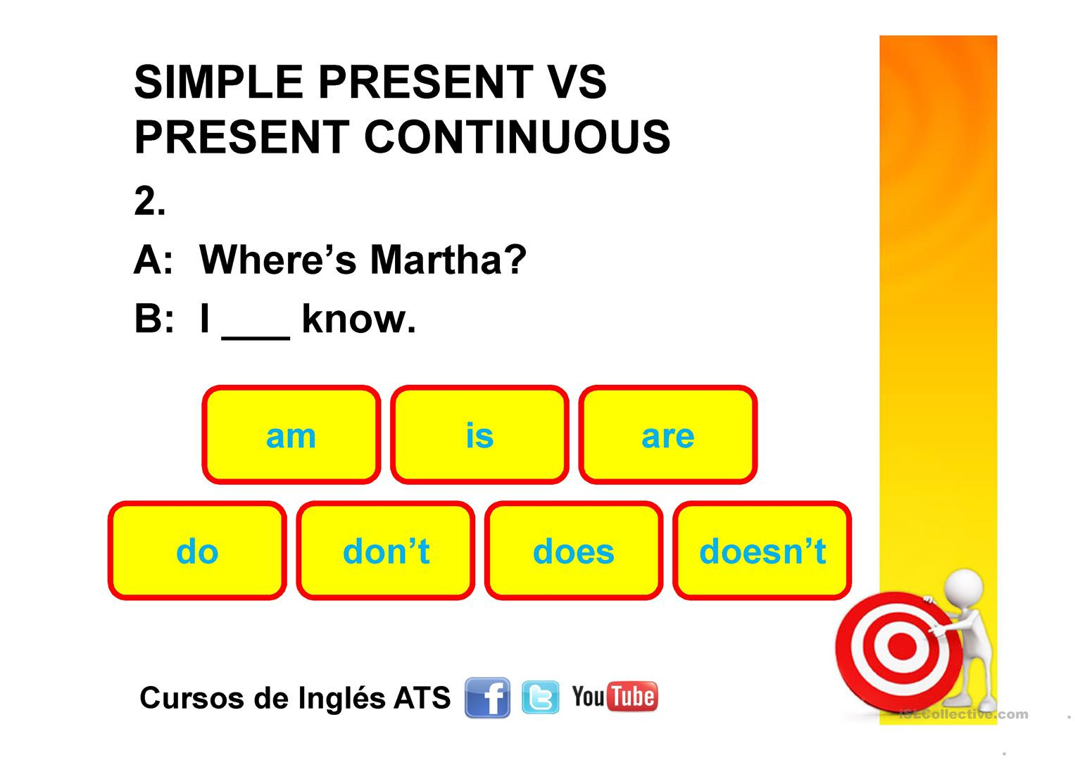 Simple Present Vs Present Continuous Worksheet
