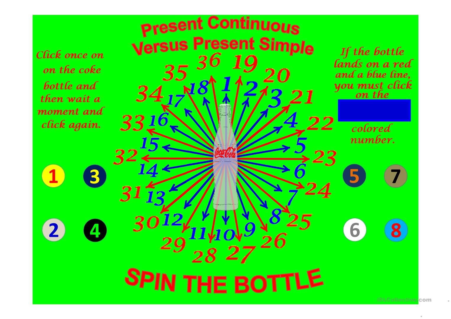 Spin The Bottle Present Continuous Versus Present Simple