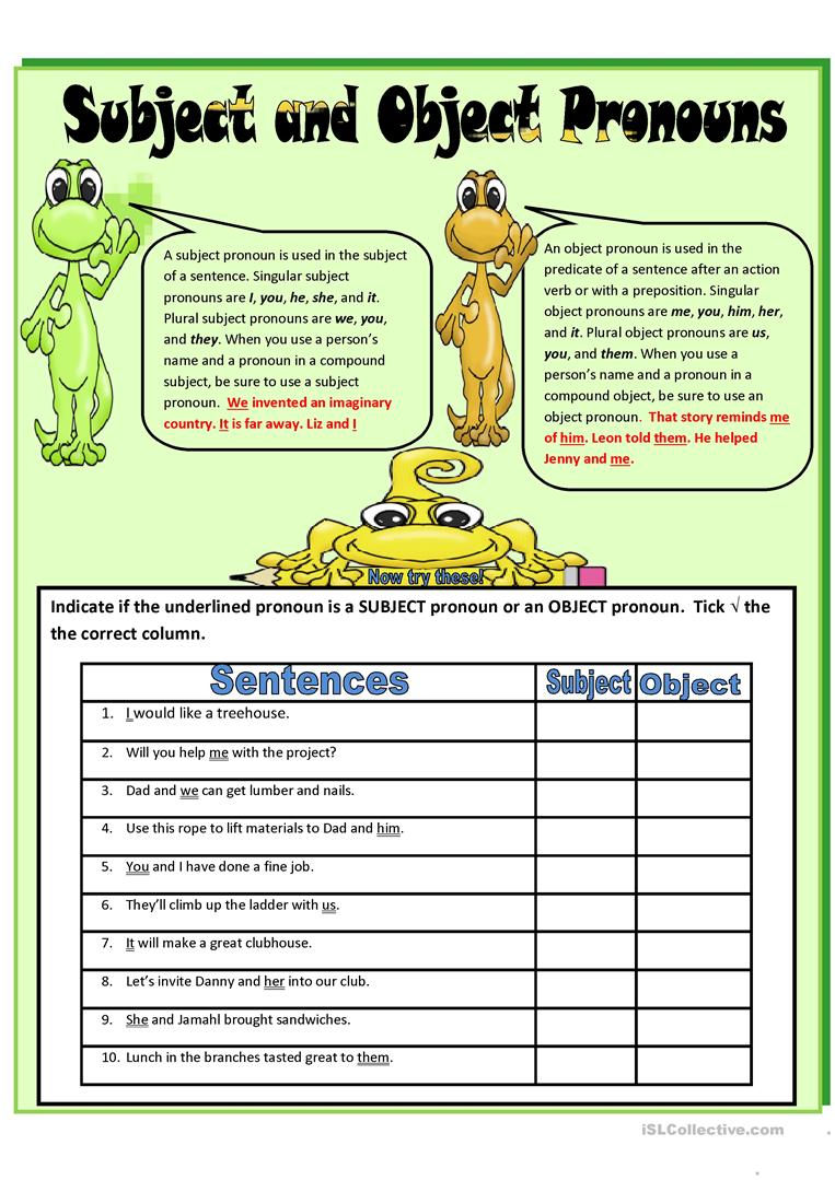 worksheet Subject Pronoun Worksheets subject and object pronouns worksheets free library 31 esl pr ouns w ksheets
