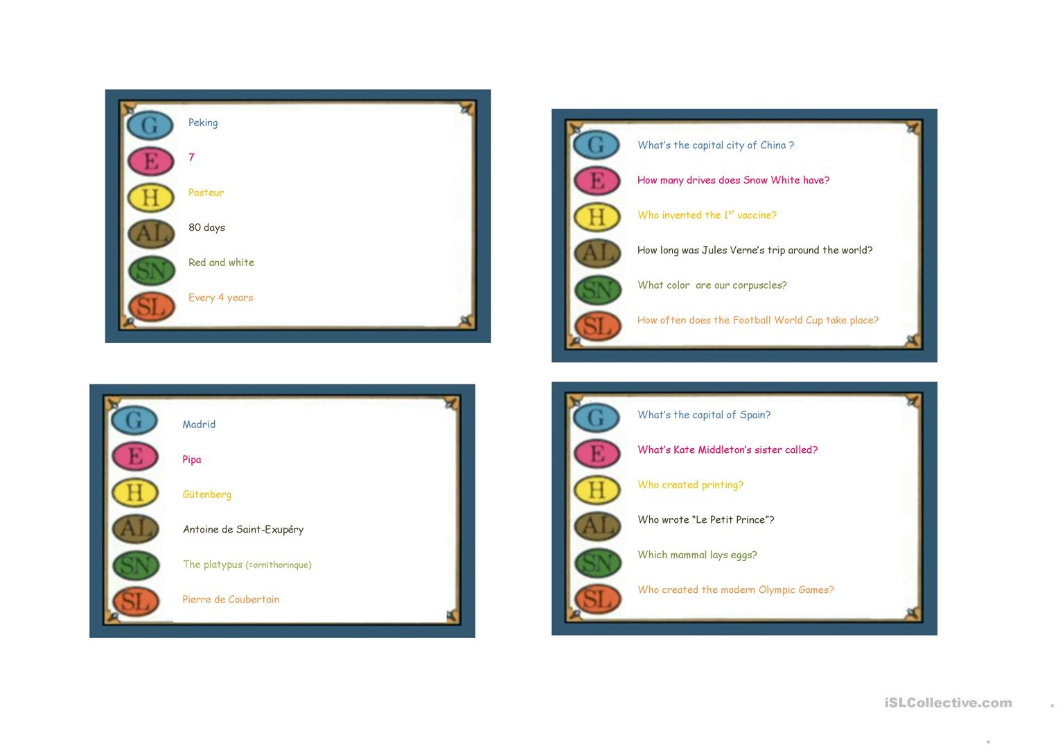 Trivial Pursuit Cards Examples Worksheet