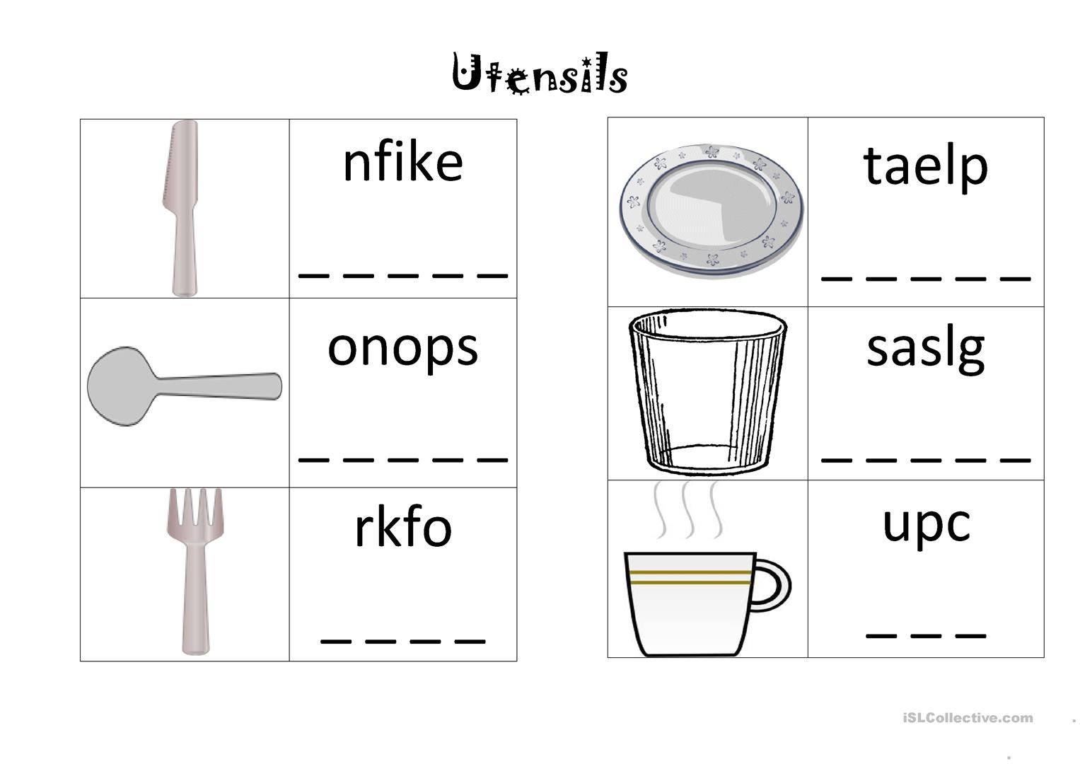 Utensils Worksheet