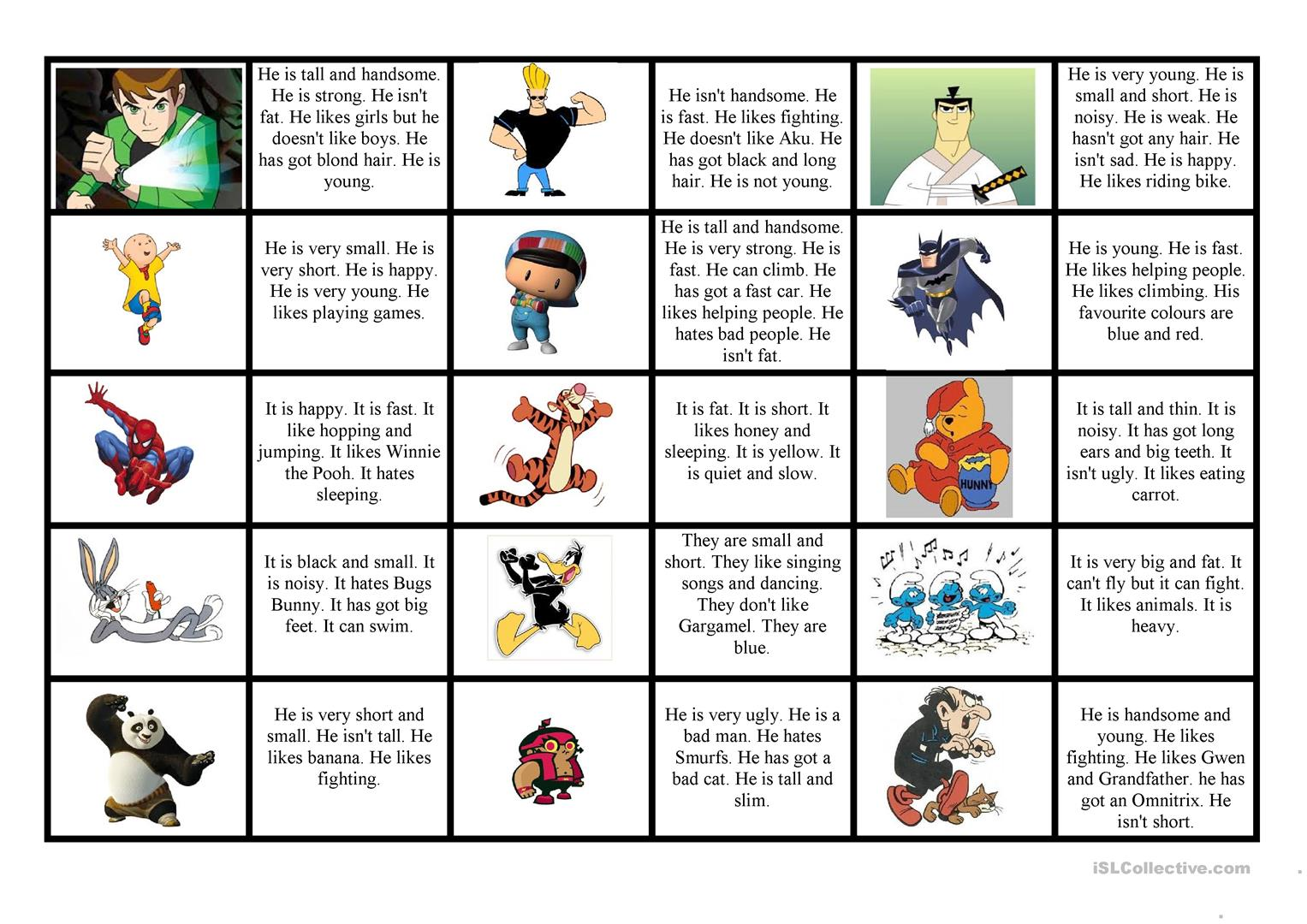 Cartoon Characters Worksheet