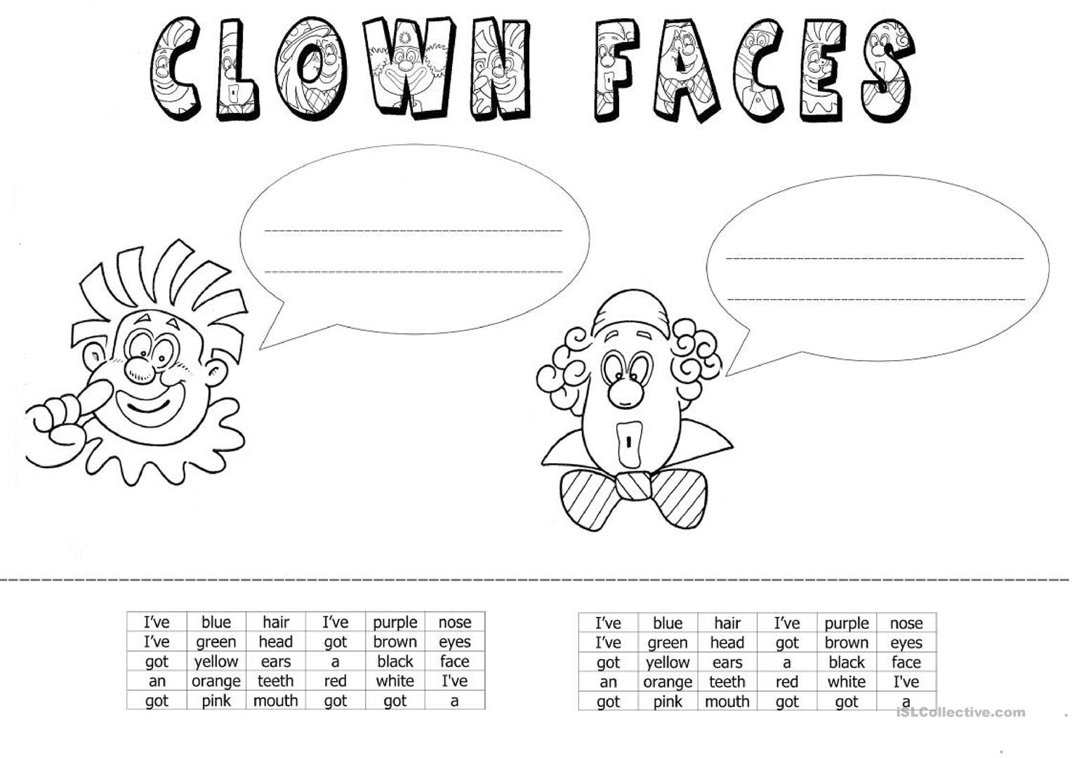 Clown Faces Worksheet