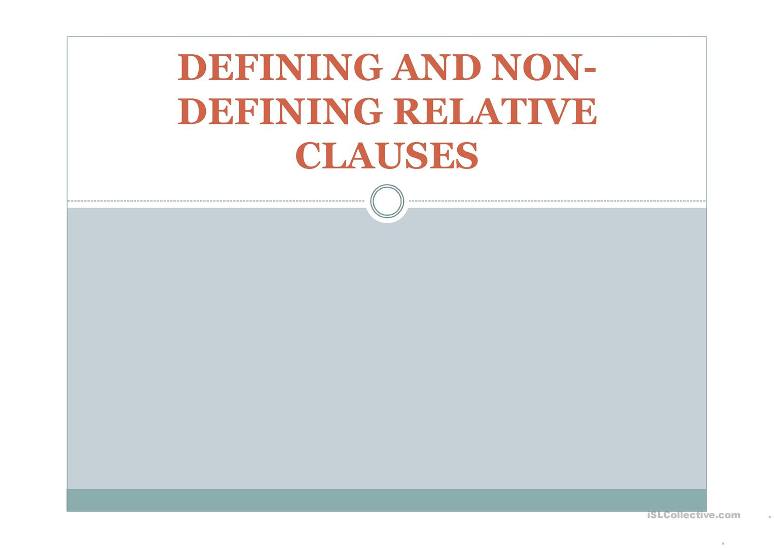 Defining And Non Defining Relative Clauses Worksheet