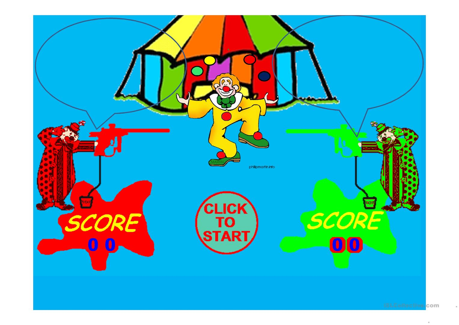 Indefinite Pronouns Clown Paintball Game Worksheet
