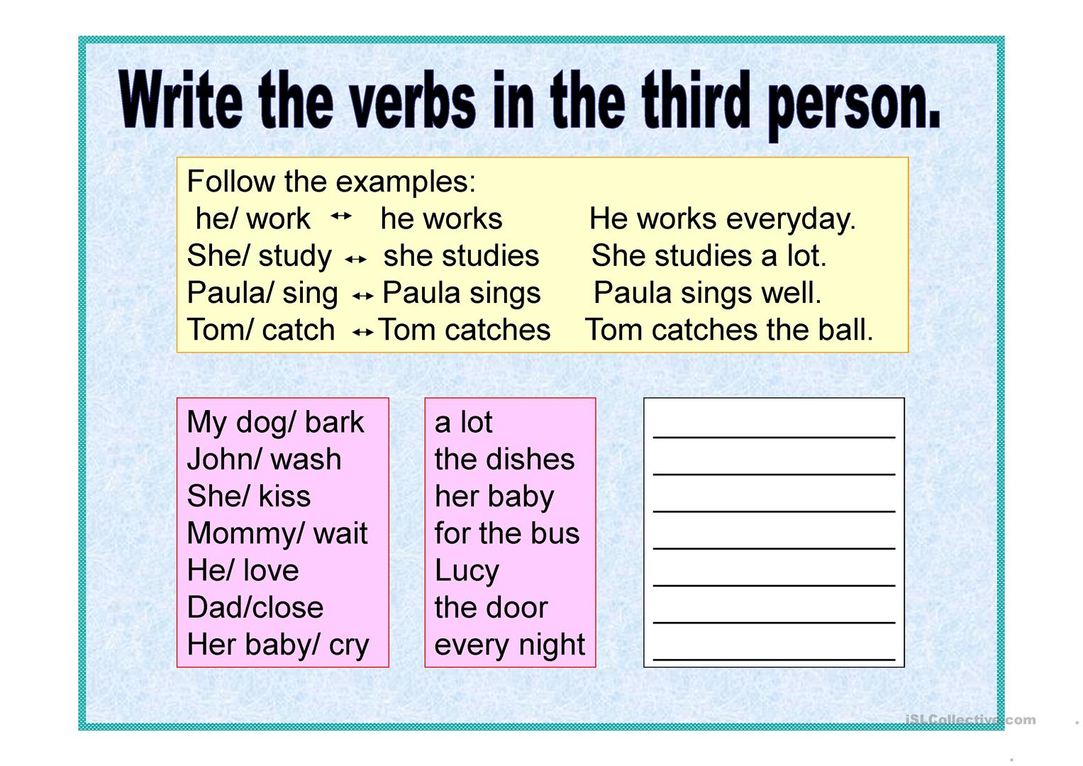 Present Simple Third Person S Es Ies Worksheet