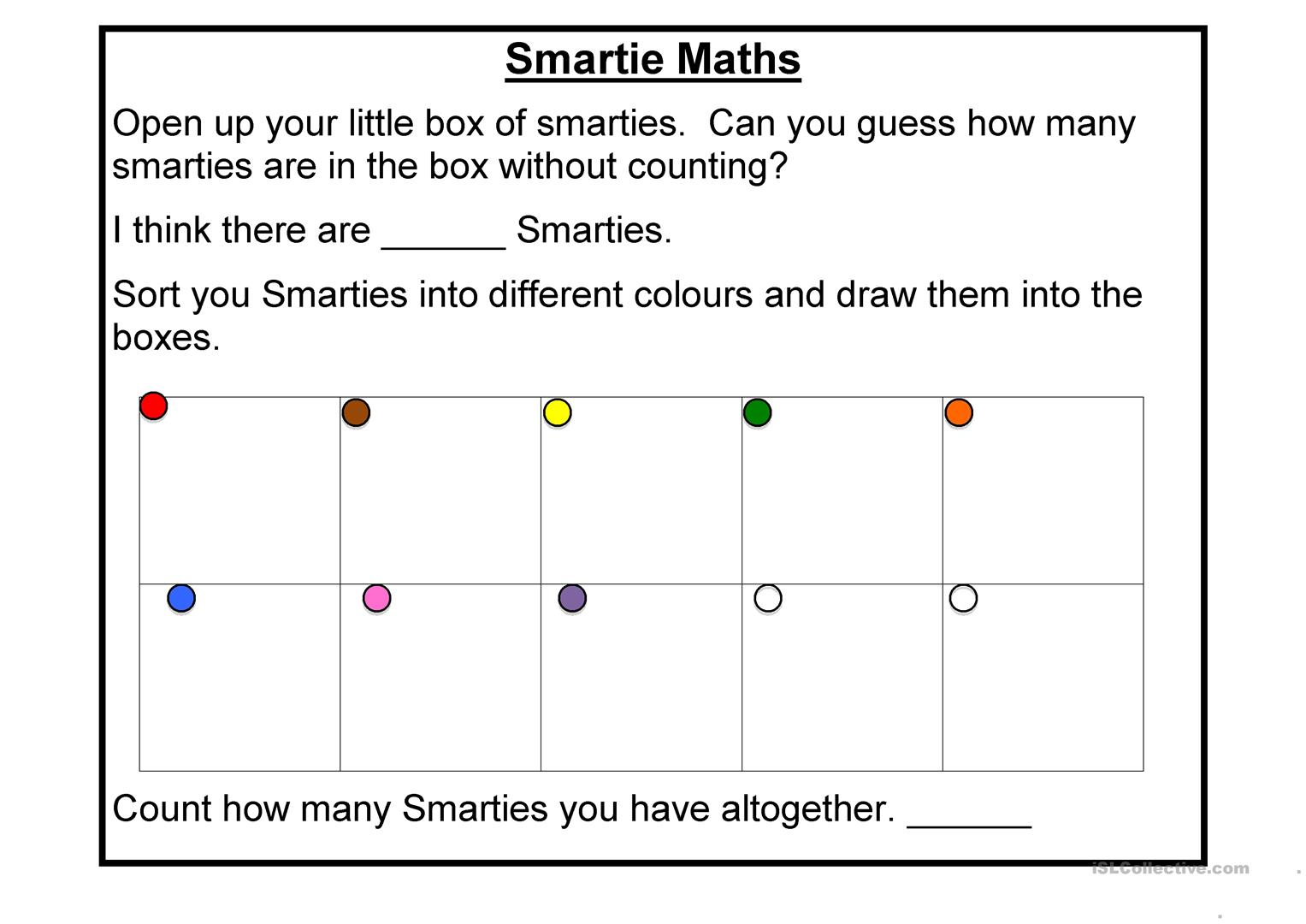 Smartie Maths Worksheet