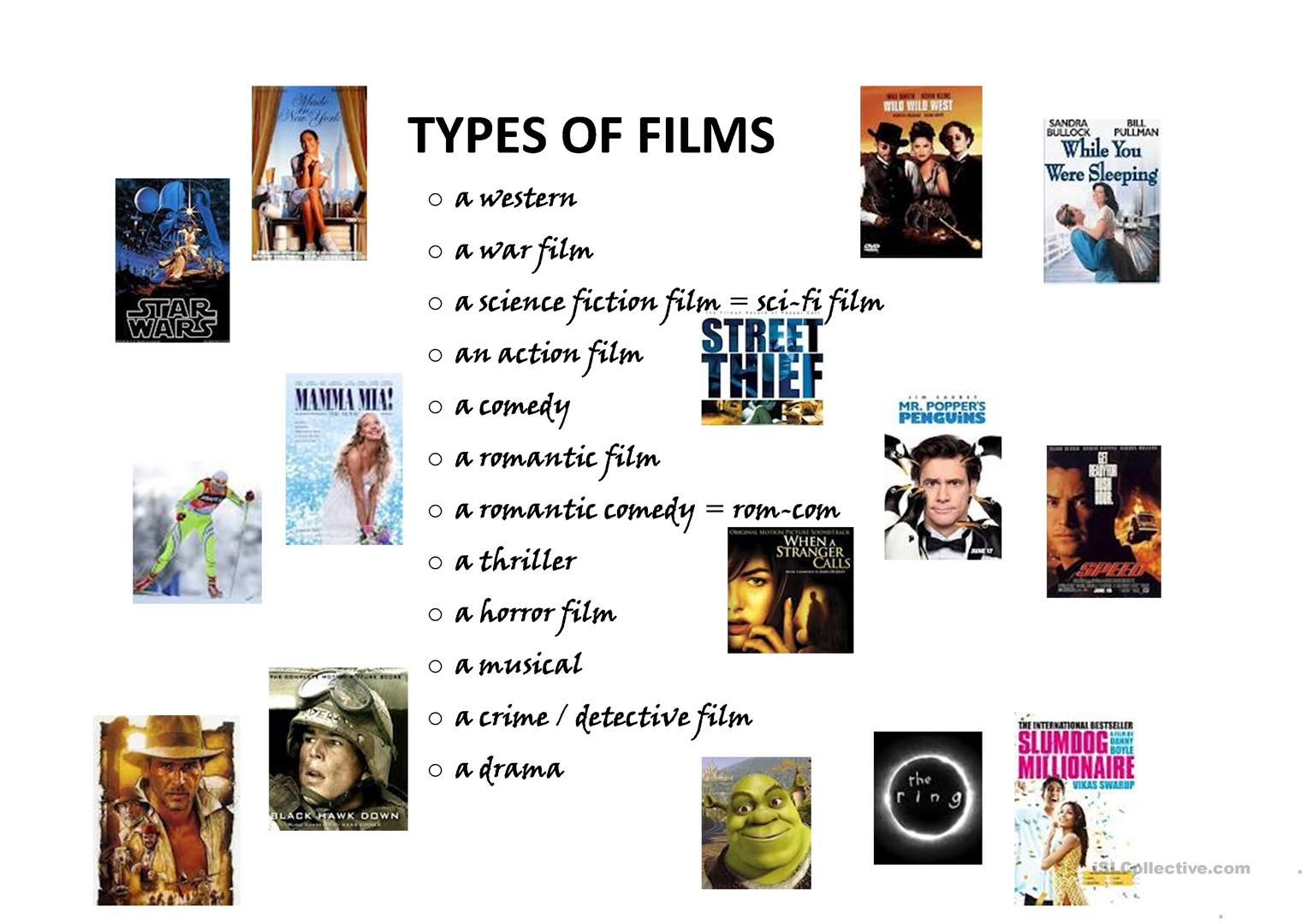 Types Of Films Worksheet