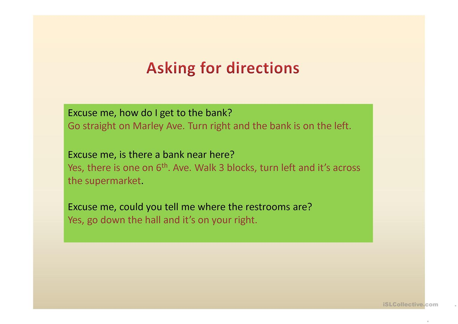 Directions And Places Worksheet