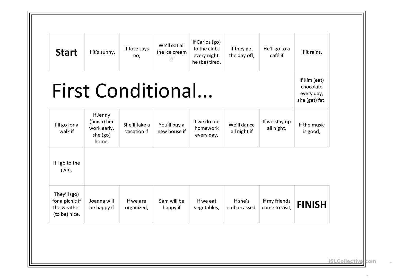 First Conditional Game Worksheet