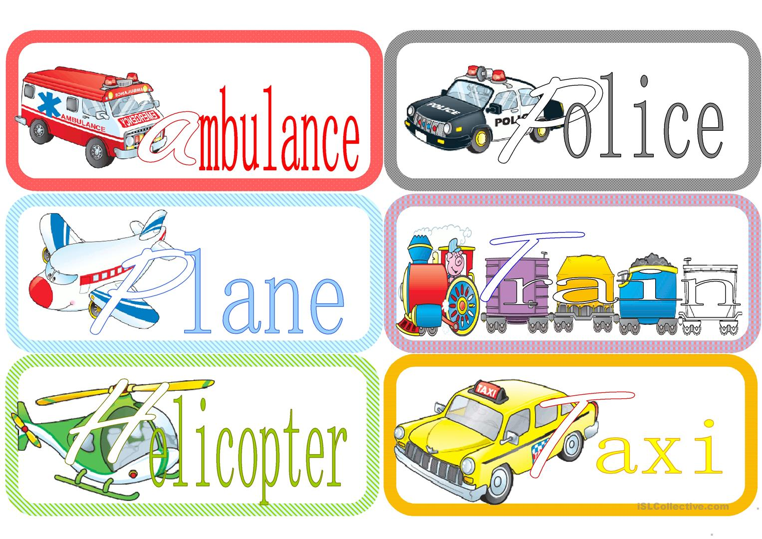 Flashcards Means Of Transport Worksheet
